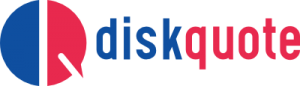 Diskquote logo. Blue and Red. Medicare insurance.